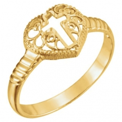 14K Yellow Gold Cross Ring
