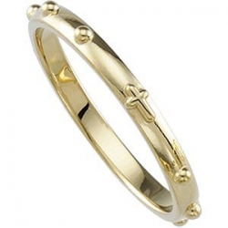 14K Yellow Gold Rosary Ring