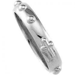 14K White Gold Rosary Ring