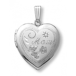 14k White Gold Heart  MOM  Locket with Diamond Accent