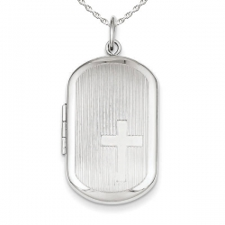 Sterling Silver  Dog Tag Cross Locket
