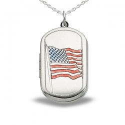 Sterling Silver  Dog Tag American Flag Locket
