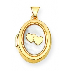 Solid Yellow Gold Oval Mother Of Pearl I Love You Locket