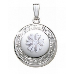 14K White Gold Cremation   Hair Locket w  Diamond Center