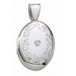 14K White Gold Premium Cremation   Hair Locket w  Diamond Center