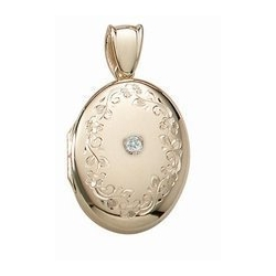 14K Yellow Gold Cremation   Hair Locket w  Diamond Center