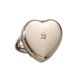 14k Yellow Gold Heart Locket Ring With Diamond