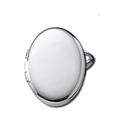 14k White Gold Oval Locket Ring