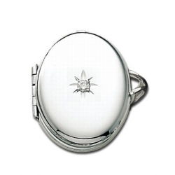 14k White Gold Oval Locket Ring with Diamond