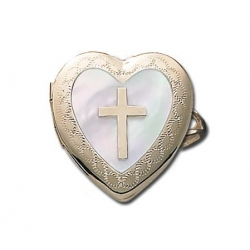 14k Yellow Gold Heart Locket Ring with Mother of Pearl