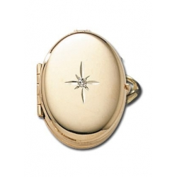 14k Yellow Gold Oval Locket Ring with Diamond