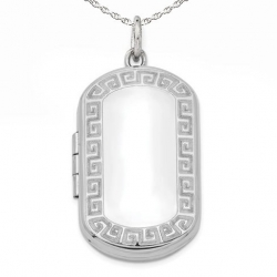 Sterling Silver  Dog Tag  Greek Key  Locket