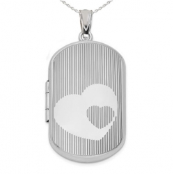 Sterling Silver  Dog Tag  Double Heart  Locket