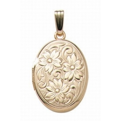 14K Gold Filled Flowered Oval Locket