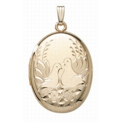 14K Gold Filled  4 Page Photo  Lovebird Oval Locket