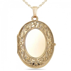 14K Gold Filled  4 Page Photo  Oval Locket