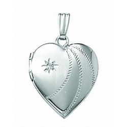 14K White Gold Small Heart Locket