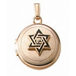 Solid 14K Yellow Gold Children s Hebrew Round Locket