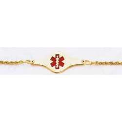 14K GOLD ROPE MEDICAL ID BRACELET