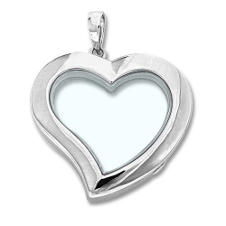 Sterling Silver Heart Glass Locket