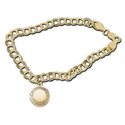 14K Yellow Gold  Round with Framed Border  Locket Bracelet