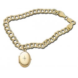 14K Yellow Gold Oval Locket Bracelet