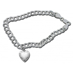 14K White Gold Heart Shaped  Locket Bracelet