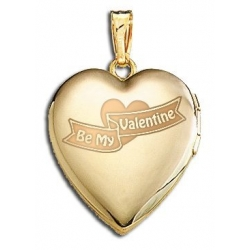 14K Yellow Gold  Sweetheart   Be My Valentine  Locket