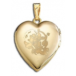 Solid 14K Yellow Gold  Sweetheart  Cupid Locket