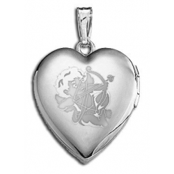 14k White Gold  Sweetheart  Cupid Locket