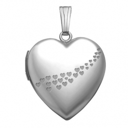 14k White Gold  Sweetheart  Cascade of Hearts Locket