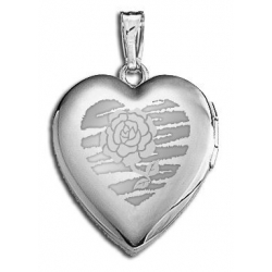 14k White Gold  Sweetheart  with Rose Locket