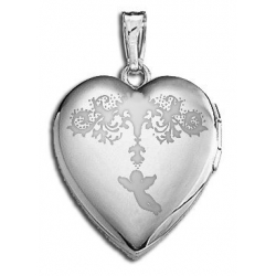 14k White Gold  Sweetheart  Valentine s Day Locket