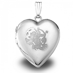 Sterling Silver   Sweetheart  Cupid Heart Locket