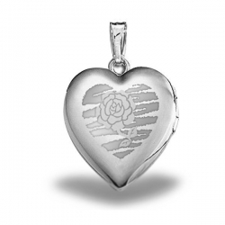Sterling Silver   Sweetheart  Rose Design Heart Locket