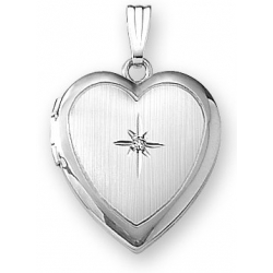 14k White Gold   Diamond Heart Locket
