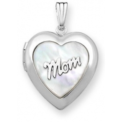 14k White Gold   Mother Of Pearl Heart Locket