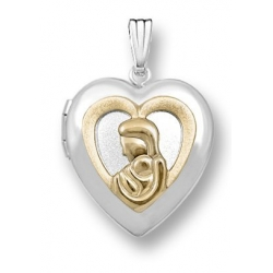 14k White Gold  Two Tone  Mother   Child  Heart Locket