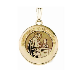 Solid 14k Yellow Gold Round  Holy Communion  Boy Locket