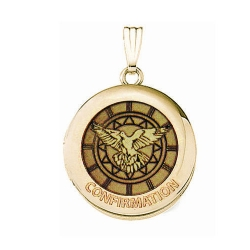 Solid 14k Yellow Gold Round  Confirmation  Holy Spirit Locket