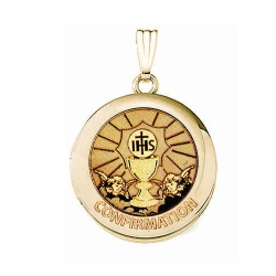 Solid 14k Yellow Gold Round  Confirmation  Chalice Locket