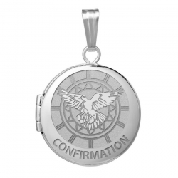 14k White Gold Round Confirmation  Holy Spirit  Locket