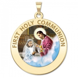 First Holy Communion Medal  for a Girl   Color EXCLUSIVE