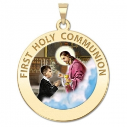 First Holy Communion Medal  for a Boy   Color EXCLUSIVE