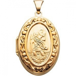 Solid 14K Yellow Gold  Saint Christopher  Oval Locket