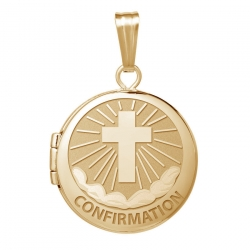 14k Yellow Gold Round  Confirmation  Cross Locket