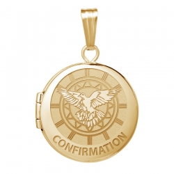 14k Yellow Gold Round  Confirmation  Holy Spirit Locket