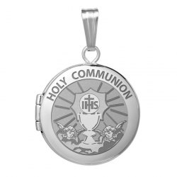 Sterling Silver Round  Picture   Holy Communion  Locket