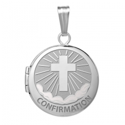 Sterling Silver Round  Picture Confirmation  Cross  Locket
