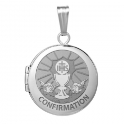 14k White Gold Round Confirmation  Chalice and  Angels  Locket